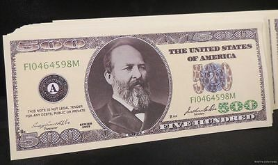 WHOLESALE LOT of 100 $500 DOLLAR USA BILLS Novelty MONEY FAKE James Garfield US