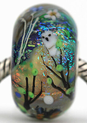 FOREST PATH FOCAL sterling silver fox owl european charm glass bead lampwork MWR