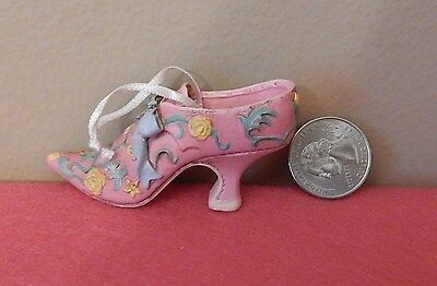 Miniature Pink Shoe Boot Victorian Resin Christmas Tree Ornament