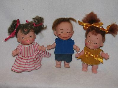 3 Vintage Plastic Evergreen Dolls Made In Hong Kong