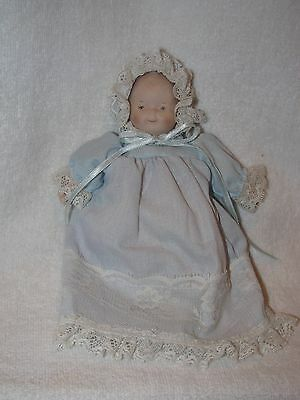 "Darling 5""  Bisque Baby Doll In Blue Gown -Global Art"