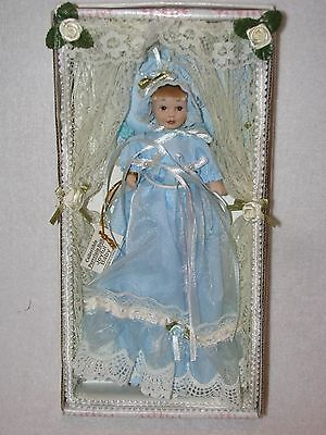 """Sweet 4"""" Porcelain Baby Doll In Long Blue Gown By Show Stoppers MIB"""
