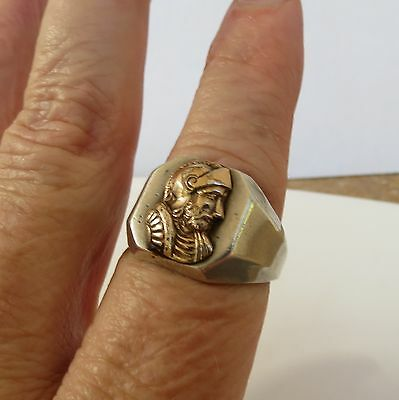 Vintage Art Deco Roman Soldier Sterling Silver and 10K Gold Ring Size- 11.5