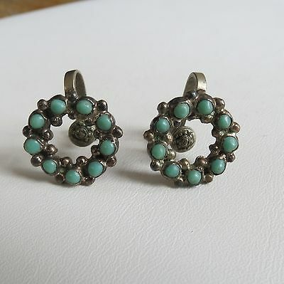 Mexico sterling silver turquoise petit point zuni style vtg earrings screwback