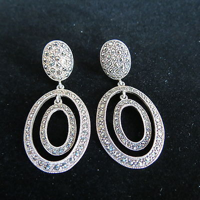 Vintage art deco marcasite earrings sterling silver double oval dangle post