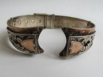 VTG 10K Gold  Sterling Silver Watch Band Hand Made Mexico buckle style