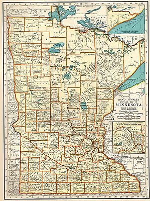1937 Vintage MINNESOTA Map of Minnesota State Map Gallery Wall Art 3380