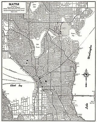 1947 SEATTLE Map of Seattle Washington Map Black and White Gallery Wall Art 3382