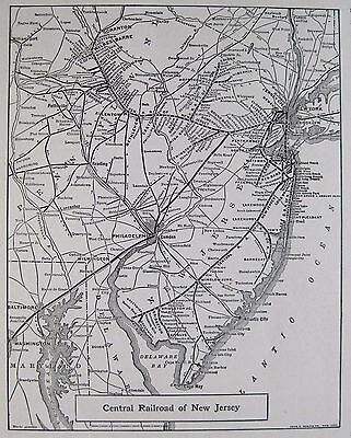1928 Antique CENTRAL RAILROAD of NEW JERSEY Map Vintage Railway MAP 3386