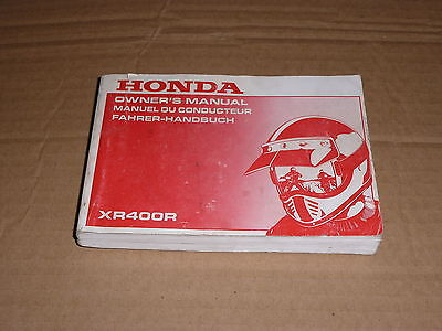 Manuel Utilisateur Du Conducteur Honda Xr 400 R 1995-> Owner's Manual