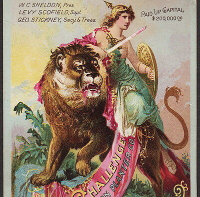 Antique Challenge Ice Box Corn Planter Grand Haven MI Lion Goddess Ad Trade Card