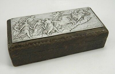 Antique 19th century silver plate & leather trinket jewellery box
