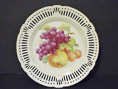 """FRUIT PLATE Pierced Reticulated IMPERIAL PORZELLAN Bavaria Germany 10.5"""" Excelle"""