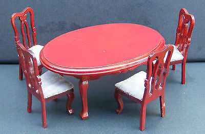 1:12 Scale Oval Mahogany Dining Room Table & 4 Chairs Doll House Miniature 103