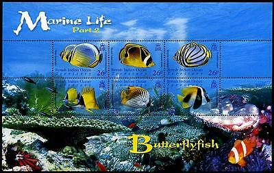 BRITISH INDIAN OCEAN TERRITORY Sc.# 323 Butterfly Fish M/S of 6 Diff. Stamps