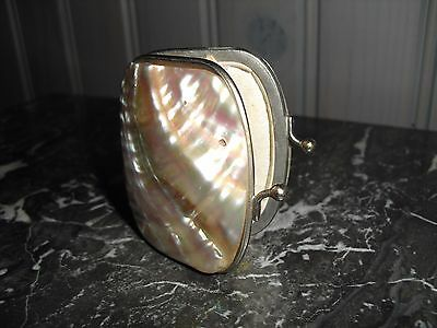 CUTE! FRENCH ANTIQUE MOTHER-OF-PEARL LADY PURSE XIXth C.