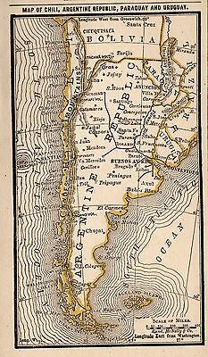RARE Antique ARGENTINA Map Chile Paraguay Uruguay 1886 RARE MINIATURE Map 3398