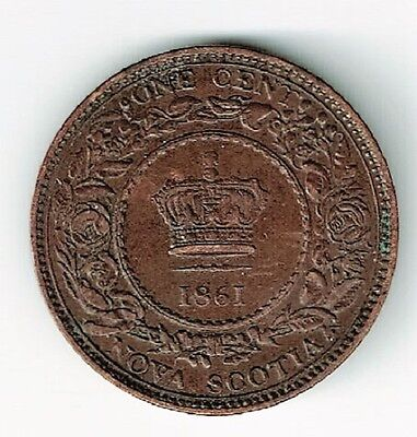 Nova Scotia 1861 One Cent Small Rosebud Variety Queen Victoria Canadian Coin