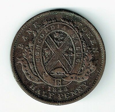 Bank Of Montreal 1844 Halfpenny Copper Token Small Trees Short Nose Beaver