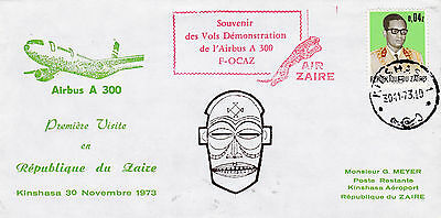 1973 Zaire First Vist Of Airbus A 300 Cover Good Cachet & Cancels 23*