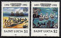 ST. LUCIA Sc.# 991-92 Discovery of America Mint NH Stamps