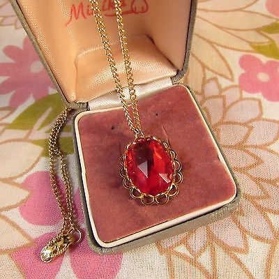 Vintage 1970s Faceted Red Glass Pendant-Fine Goldtone Chain, Unworn Stock