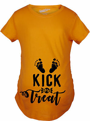Maternity Kick or Treat Halloween Pregnancy Announcement Bump T shirt