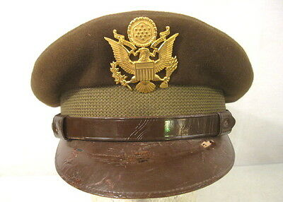 WWII US Army Officer's Visor Service Cap or Hat w/Brown Leather Brim Size 7 1/4