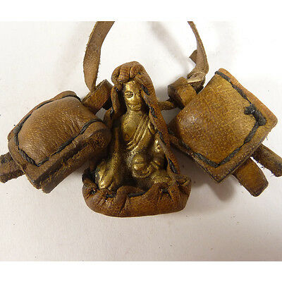Tibetan old copper buddha armored leather buddhism amulet pendant PD43H08