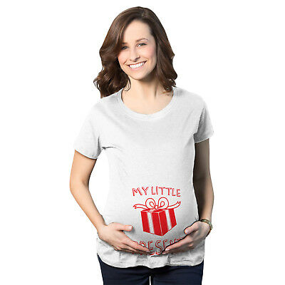 Maternity My Little Present Funny Bump Christmas Pregnancy Announcement T shirt