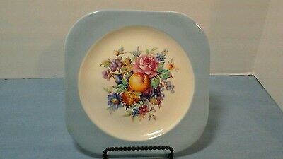 """Steubenville 7-1/4"""" Salad Plate Light Blue Rimmed Flowers And Fruit In Center"""