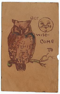 Leather Postcard with Owl - Get Wise Come To