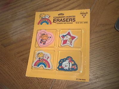1 Vintage Pack of 4 Strawberry Scented Erasers - Rainbow Brite & Friends