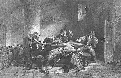GAMBLING PRISON SOLDIERS CAUGHT PASSED OUT DRUNK ~ Old 1880 Art Print Engraving