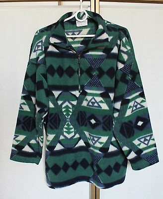 Vintage 80s Aztec Abstract Graphic Print Fleece Sweater Jumper Pullover Jacket L