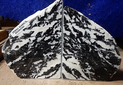 Zebra Marble Bookends-Polished
