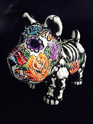 """Scottie SCOTTISH TERRIER Day Of The Dead Dog Figurine Statue 8 x 7"""" Hand painted"""