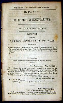 1848 CREEK INDIANS Reservations Under Treaty of 1832 - Location, Undisposed Of