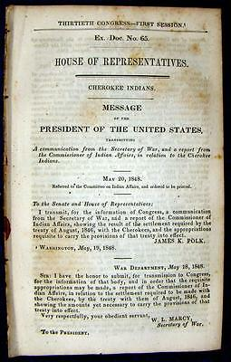 1848 CHEROKEE INDIANS Settlement Required by 1846 Treaty of Washington, DC