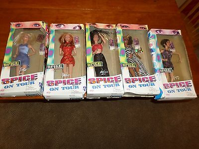 5 Spice Girl Dolls On Tour 1998 Complete set Barbie Ginger Scary Baby Posh Shoes