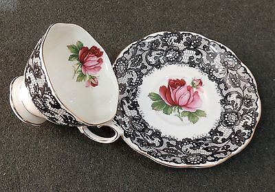 Royal Albert England Señorita Black Lace W/Rose Teacup & Saucer EUC