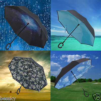 Modern Upside Down Reverse Umbrella C-Handle Double Layer Inside-Out Colors NEW