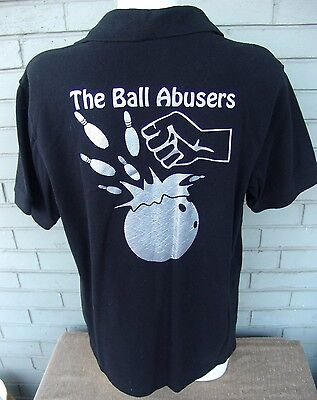 Black Polo Knit Ball Abusers Bowling Team Pins Hipster Pullover Shirt Top Large