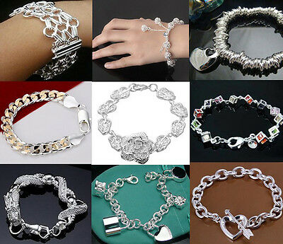 Wholesale New Fashion Styles 925 Silver Jewelry Womens Mens Bracelet Bangle
