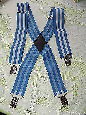 Vintage wide  blue & white elasticated braces  MOD Scooter Punk skinhead 60s 70s