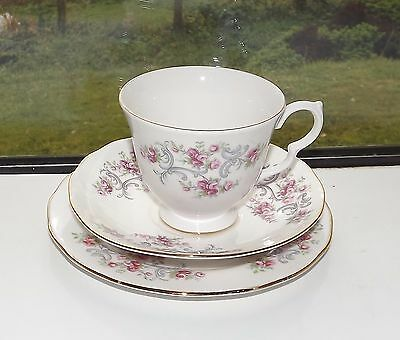 Gainsborough Bone China Trio Cup Saucer Plate Floral Pink Roses Grey Swags