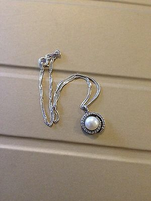 Sterling Silver Pearl & C Z Charm Pendant Ankle Bracelet 925 10 Inches