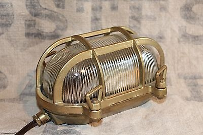 A Vintage Bulkhead Light Solid Brass & Glass Loft Industrial Factory Lamp