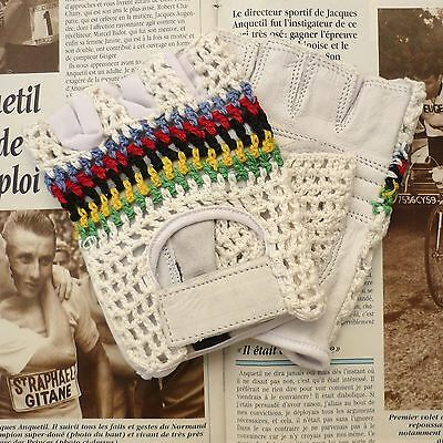 Vintage Style, World Champion Leather Cycling Gloves, Mitts with Crochet Back