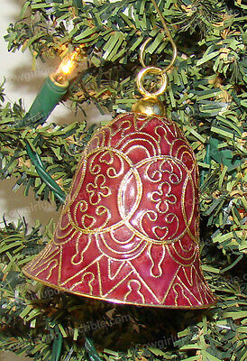 Hand Painted Cloisonne, Baked Enamel Red Bell Ornament (4653BU)